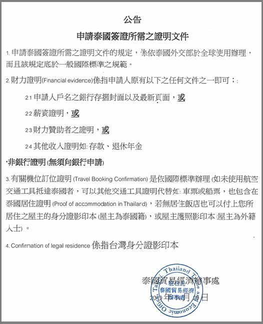 申請泰簽所需文件